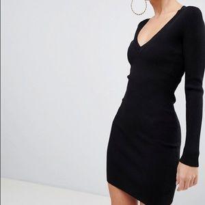 Misguided V Neck Black Sweater Dress
